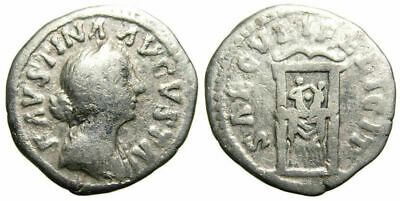 Faustina II AR Denarius (161 AD), throne with Commodus and his brother