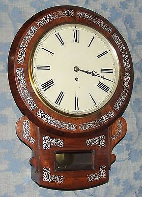 # Antique ROSEWOOD & Mother of Pearl Fusee Drop Dial Clock : CLEANED & SERVICED