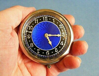 Stunning Art Deco (Rim Wind) VINTAGE CAR CLOCK with Blue Guilloche Enamel Dial