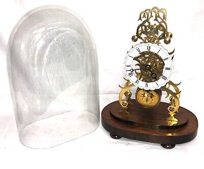 # Antique CHAIN FUSEE Skeleton Clock with Glass Dome