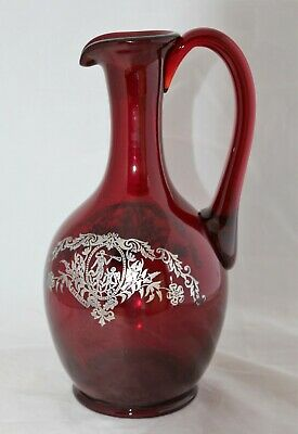 VINTAGE PADEN CITY RUBY GLASS STERLING SILVER OVERLAY DIANA Pattern JUG DECANTER