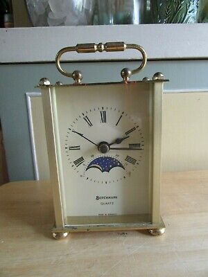 Vintage Benchmark Moon Phase Carriage Clock Made In Germany Quartz Movement