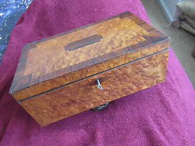Beautiful Antique Birds Eye Maple And Rosewood Jewelry Box Working Key And Lock