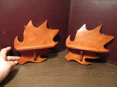 Pair of Vintage Hand Crafted Wooden Decorative Oak Leaf Wall Shelves