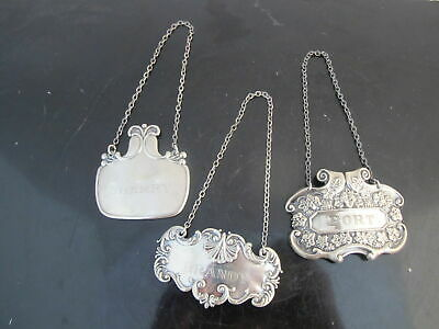 Antique STERLING Silver Ornate Liquor & Wine Labels PORT Sherry & BRANDY