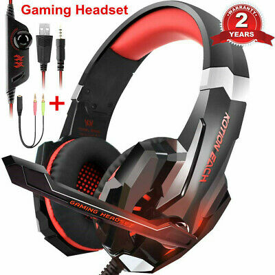 3.5mm Gaming Headset LED Headphones for PC Laptop PS4 Slim Pro Xbox One with Mic