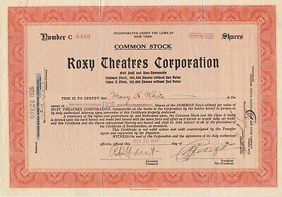 Roxy Theatres Corporation Issued Stock Certificate Signed Samuel Rothafel 1926
