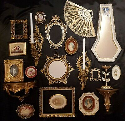 Vtg Lot Wall Decor Italy Plaques Mirrors Shelves Hollywood Regency Cameos