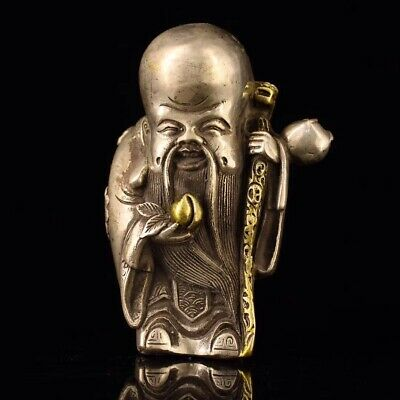 Chinese White copper hand-made longevity wealth Old man Home decoration