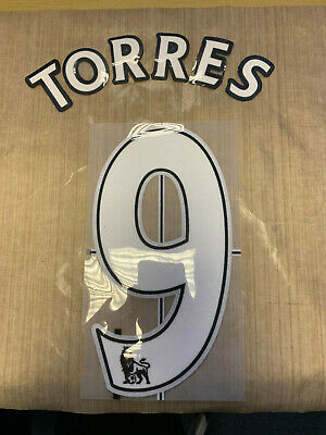 TORRES 9 Official Premier League White Player Size Name Number Felt Lextra