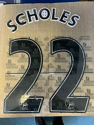 PAUL SCHOLES 22 MANCHESTER UTD Black Official Lextra Name & Number 2007 - 2013