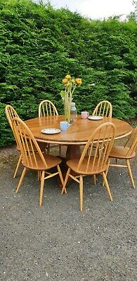 6 Vintage Blonde Vintage Ercol Dining Chairs & Victorian Solid Oak Round Table