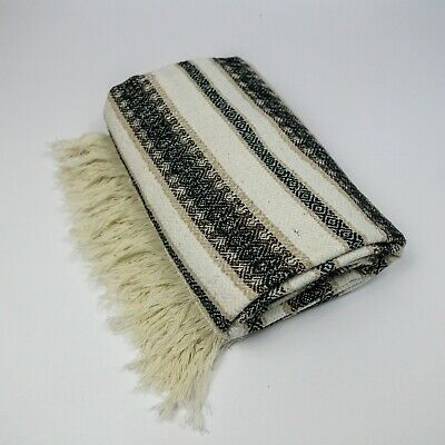"Mexican Blanket in ""Diamond"" Black Brown Natural PREMIUM 80 x 52 Handwoven Throw"