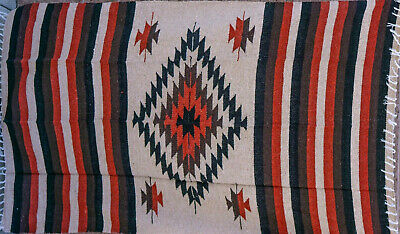 Mexican Blanket Tribal Diamond in Burnt Umbre PREMIUM XL Handwoven Drug Rug