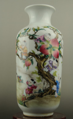 China old hand-made famille rose porcelain Hand painted child & peach vase c01