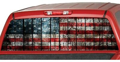 AMERICAN Distressed Flag Retro Style Rear Window Graphics Decal Pickup Truck