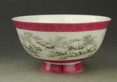 Chinese old hand-made porcelain snow-covered landscape bowl/qianlong mark b01