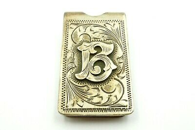 Vintage Plafina Mexico Sterling Silver 925 Etched Initial B Money Clip