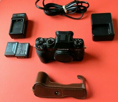 EXC Fujinon Fujifilm X-T1 Black Body, Leather 1/2 Case, 2 Batteries, 2 Chargers