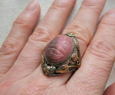 Massive Rare Antique Gold Sterling Scarab Ring Sz 6.5  Ostby Barton Style