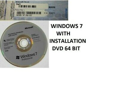 DELL Windows 7 Professional KEY COA WITH Windows 7 Pro 64 bit Installation DVD