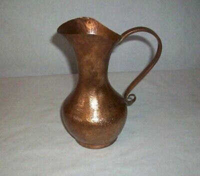 "Antique Hand Hammered Solid Copper Vase Hand Rivet 7""  Unique!"