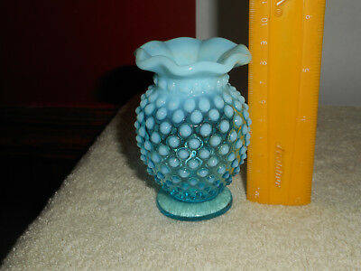 Vintage FENTON Hobnail BLUE OPALESCENT Glass Small Bud Vase Ruffled Top