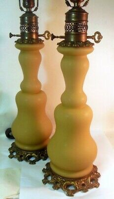 CHIC Antique Pair of Lamps FRENCH OIL design Satin Glass Rococo Ormolu Detail