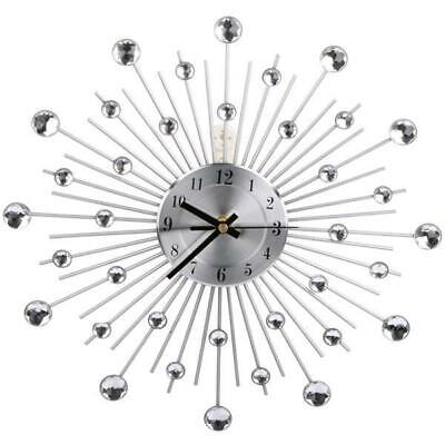 33cm Handcrafted Diamante Beaded Jeweled Black Silver Wall Clock 122 Used