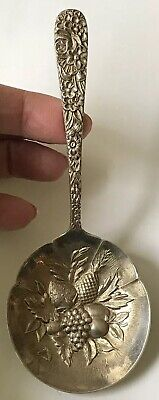 "Vintage 1924 S.KIRK & SON Repousse Sterling Berry Bowl BON BON Spoon 5-1/8"", 30g"