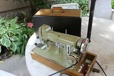 Vintage 1950s  Necchi Bu Mira Sewing Machine With Case Works, Made in Italy