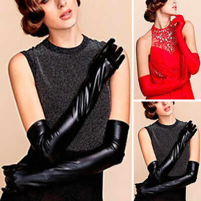 Gloves Evening Clubwear Elbow Mittens Latex Rubber PU Leather Wet look Prom
