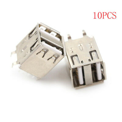 10Pcs Double Usb Type A Female Solder Jacks Connector 180 Degrees