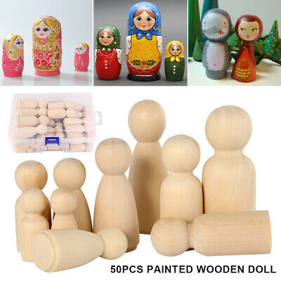50PCS Unfinished Wooden Dolls Wood Peg Little People Kid Arts Craft Painted Toys