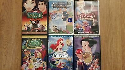 6 Film DVD Walt Disney lot Snow White Cinderella Little Mermaid Alice Wonderland