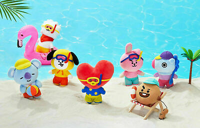 BT21 BTS Bon Voyage Plush Standing Doll Summer Edition Stuffed Toy Keyring