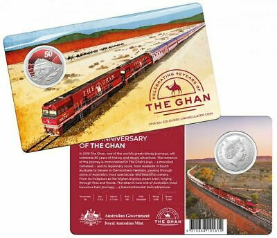 """2019 50c RED COLOURED UNC COIN IN CARD """"90th ANNIVERSARY OF THE GAHN"""""""