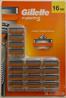 New Mens Gillette Fusion 5 Razor Blades 16 Cartridges Free World Wide Shipping
