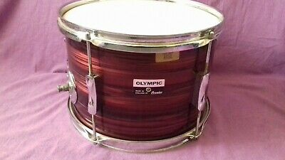 RARE Vintage Olympic 12x8 rack tom Red Silk Pearl Mahogany shell Quality UK made