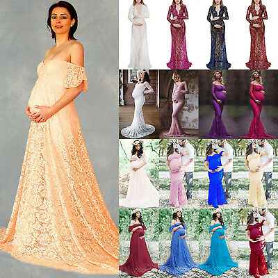 Pregnant Womens Lace Long Maxi Dress Maternity Party Ball Gown Photography Props