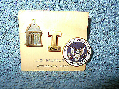 L.g. Balfour Co. Republican Presidential League Of Merit - Iowa - Capitol - Pins