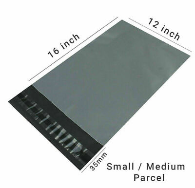 "25 (12"" X 16"") Grey Mailing Bags Strong Poly Postal Postage Post Mail Self Seal"