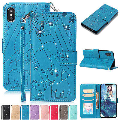 For iPhone 5 SE 6s 8 Plus 7 XS Max XR Case Luxury Leather Flip Card Wallet Cover