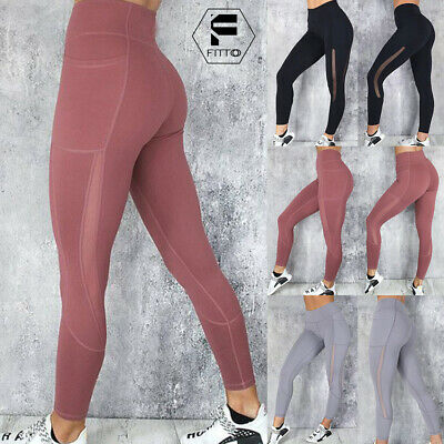 Women Mesh Yoga Pants High Waist Fitness Leggings Gym Workout Sports Trousers M8