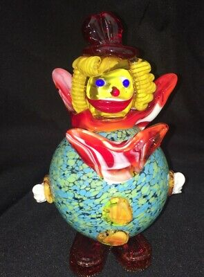 Vintage Italian  Murano Art Glass Clown Gorgeous Colors Turquoise Red