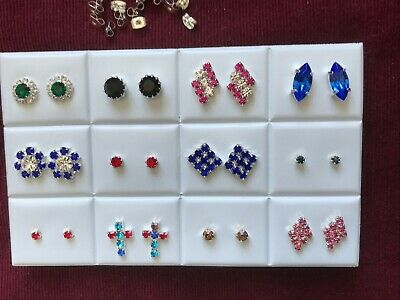 JOBLOT-12 pairs of crystal/colour diamante earrings.Silver plated.UK handmade.
