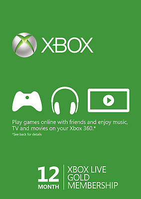 12 Month Xbox Live Gold Membership For Microsoft Xbox 360 / Xbox One
