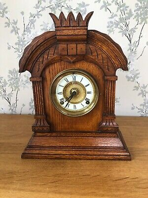 Beautiful Antique Ansonia American Oak Case Striking Mantel Clock,Pendulum & Key