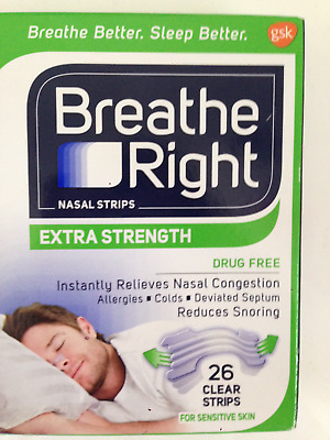 Breathe Right Extra 50% Stronger 26 Clear Nasal Strips Stop Snoring Sensitive