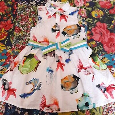 Next Age 3 Girls Summer Tropical Fish Shirt Dress With Belt